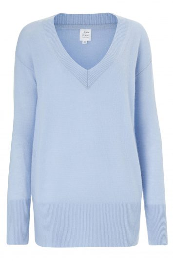 Click to Buy John Lewis & Partners Blue V Neck Jumper