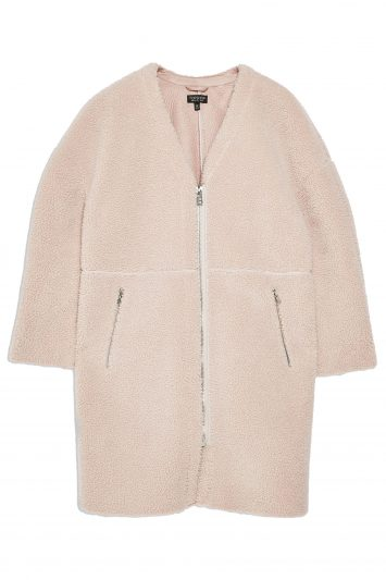 Click to Buy Topshop-Pink-Borg-Coat