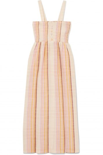 Madewell-Shirred-Striped-Cotton-Blend-Midi-Dress